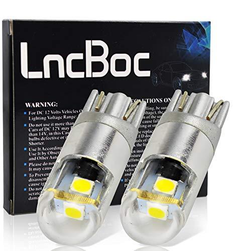 LncBoc T10 194 168 LED Auto Lampadina W5W LED luci dell'automobile Bulb 3SMD 3030LED 6000K Blanco 194 168 Per la Luce Interna Dell'auto Targa Lampade Replacment 12V Confezione da 2