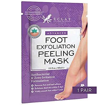 𝗘𝗫𝗙𝗢𝗟𝗜𝗔𝗧𝗜𝗡𝗚 Foot Peeling Mask for Soft Baby Feet - 8X More Powerful for Calluses & Dead/Dry Skin - Repairs Rough Heels in 5 Days - Dermatologist Developed from Eclat Skincare