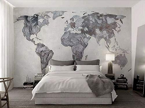 Papel Pintado Mapa Del Mundo Gris Simple Fotomural 3D Mural Pared Moderno Wallpaper