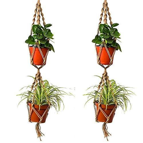 ZHJC Pots de Terrarium de Plantes 110cm Double Chanvre Jute Corde Plante Pot de Fleurs Hanger Dentelle Pendaison Panier Jardin Décoration Vase en Verre Transparent Suspendu