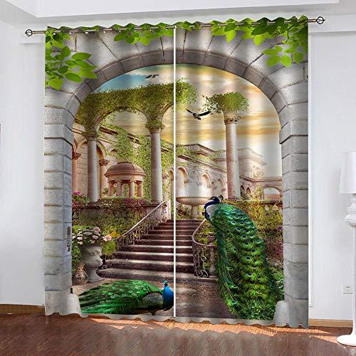 LJUKO Cortina Opaca En Cocina El Salon Dormitorios Habitación Infantil 3D Impresión Digital Ojales Cortinas Termica - -Pavo Real Verde Jardín