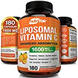 NutriFlair Liposomal Vitamin C 1600mg, 180 Capsules - High Absorption, Fat...