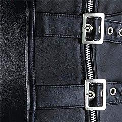 jutrisujo Leather Steampunk Corset Bustier Lingerie Clubwear Top Shoulder Straps Plus Size Costume Women Basques Black XL #4