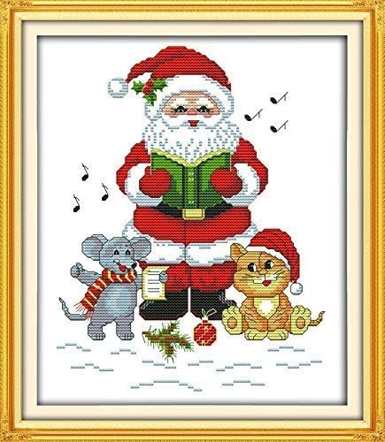 Happy Forever Cross Stitch Kits 11CT Stamped Patterns for Kids and Adults R436 Love of Dancing Girl, Size 13x18 Life is Wonderful DIY Preprinted Embroidery kit for Beginner