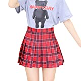 Women's Pleated Plaid Skirts High Waisted Skater Tennis School A-Line Skirt with Shorts (Red Plaid, XX-Large)