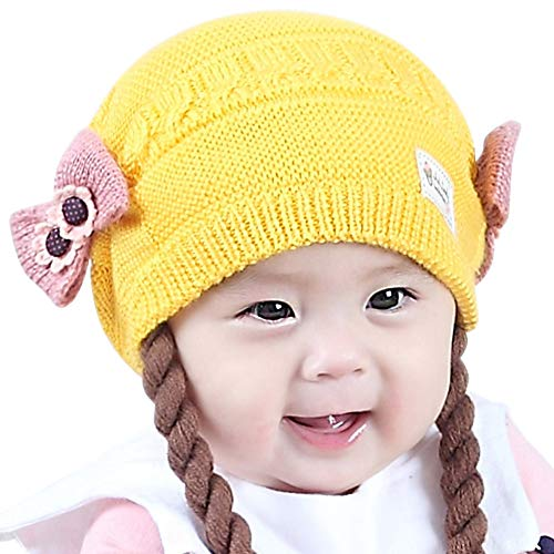 IMLECK Toddler Infant Girls Cute Soft Winter Knit Warm Wig Hat with Cotton Lining Yellow