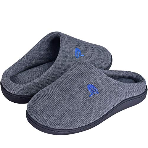 Mens Slippers with Arch Support, Cozy House Slippers for Men, Soft Memory Foam Slip On Bedroom Slippers, Waffle Knitted Clog Mens House Shoes Anti-Skid Rubber Sole for Indoor Outdoor, Gray 9/10
