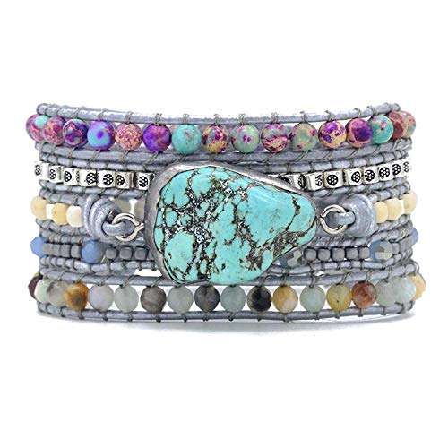 ZDLJM Armbänder Natursteine Türkis Charm 5 Stränge Wickelarmbänder Handgemachtes Armband Damen Lederarmband