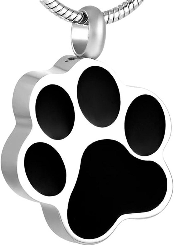 Pet Memorial Jewelry Urn Pendant  25 Styles  Keepsake Paw Print Series Pet Memorial Cremation Jewelry Dog, Cat, Animal Ashes (Large Paw Print)