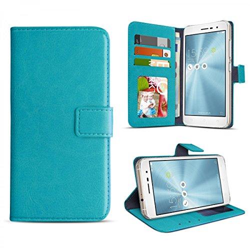 eFabrik Bookstyle Tasche für Asus ZenFone 3 Schutzhülle (ZE552KL) Schutztasche mit Aufsteller & Innenfächern Smartphone Hülle Handy Hülle Zubehör, Farbe:Türkis