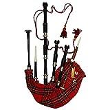 Escocesa Highland Bagpipe Black Finish Royal Stewart Tartan con soportes de plata sin tutor, libreta de gaitas canta cañas