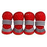 ZZYUBB Zapatos del Perro Mascota Perro Reflectante Botas Gato Chihuahua Zapatos De Yorkshire del Perrito Caniche Bichon Amasado Francés Bulldog Pet (Color : Red, Size : 5)