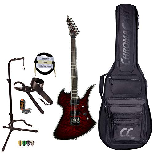 BC Rich Guitars Mockingbird Extreme Exotic Electric Guitar with EverTune Bridge, Case, Strap, and Stand, Black Cherry Quilt