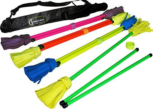 NEO UV Flowerstick Set (5 Entwürfe) inkl. Fiberglas Handstäbe mit 2 mm Ultra-Griff UV Silikon + Flames N Games Reisetasche! Flower Sticks für Anfänger und Profis. (UV Rosa / Lila)