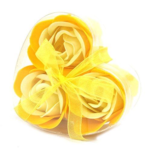Lot de 3 Roses de Savon Boite Coeur - Rose du Printemps