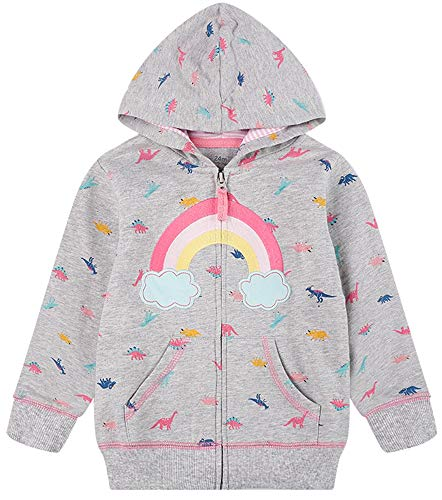 Toddler Girls Zip up Rainbow Dinosaur Sweatshirt Kids Winter Jacket Hooded Coats Hoodie Outwear 3t