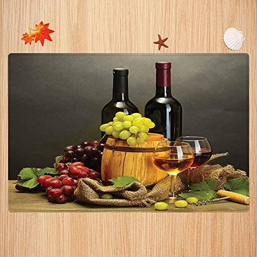 Alfombra de baño Antideslizante,Colección de la Bodega, Barril, Botellas y Copas de Vino y Uvas maduras en la Mesa de Madera, ima Apto para Cocina, salón, Ducha (40x60cm)