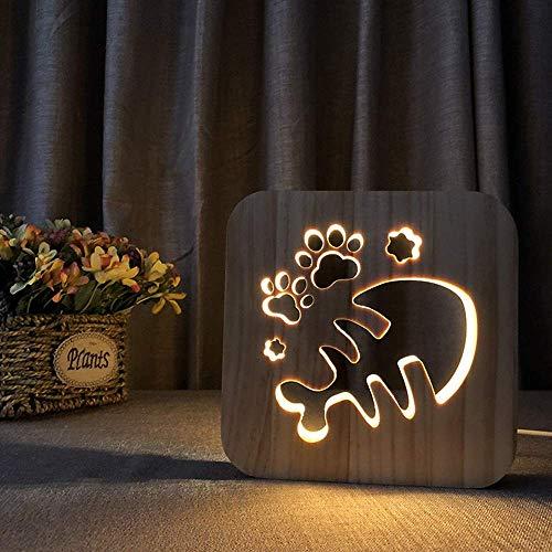 Dightyoho Lámpara Escritorio Madera Luminosa de Dibujos Animados Espina de Pescado 3D Hueco USB decoración Creativa LED lámpara de Mesa Dormitorio habitación de los ni?os Cumplea 19 * 19 cm