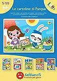 Sabbiarelli Sand-it for Fun - Album Le Cartoline di Pasqua: 5 Fogli Adesivi da Colorare con la Sabbia (Non Inclusa), Adatto per Adulti e Bambini Anni 5+