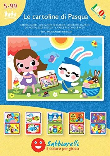 Sabbiarelli Sand-it for Fun, Album Le Cartoline di Pasqua, 10 Disegni Adesivi 15x10cm da Colorare con la Sabbia; lavoretti di Pasqua, Giochi creativi per Bambini, Biglietti d'auguri