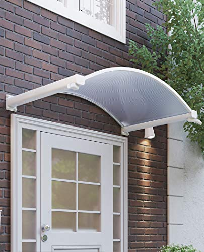 Schulte Rundbogenvordach 160 x 90 cm Polycarbonat klar Aluminium weiß Vordach mit Wasserspeiern Haustür-Überdachung