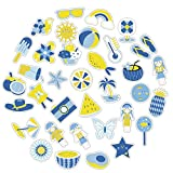50pcs Summer Style Fresh Yellow Blue Waterproof Stickers Decal PVC for Laptop Phone Guitar Stationery Lovely Sticker