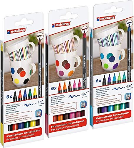 edding 4200 Porzellan-Pinselstift (auch für Glas und Keramik) - 3x Farb-Set mit 6 Farben - Porzellan-Brushpen zum Bemalen und Beschriften von Geschirr, Tassen und ofenfestem Glas