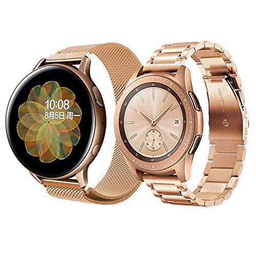 20mm Correa para Galaxy Watch Active 2 Galaxy Watch 42mm Correa Metal Malla Banda de Reloj Acero Inoxidable Correa de Repuesto para Garmin Vivoactive 3&Huawei Watch GT2 42mm-Oro rosa