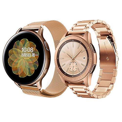 20mm Correa para Galaxy Watch Active 2/Galaxy Watch 42mm Correa Metal Malla Banda de Reloj Acero Inoxidable Correa de Repuesto para Garmin Vivoactive 3&Huawei Watch GT2 42mm-Oro rosa