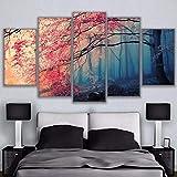 MMLFY 5 aufeinanderfolgende Gemälde Modulare HD Druck Malerei Wandkunst Mangrove Leinwand Poster 5 Stück Sakura Landschaft Bild Wohnkultur