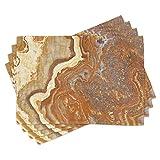 ABAKUHAUS Mármol Salvamantel Set de 4 Unidades, Natural travertino Faceta, Material Lavable Estampado Decoración de Mesa Cocina, Canela Tierra Amarilla