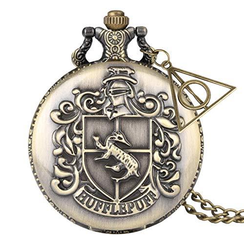 Reloj de Bolsillo, Reloj de Bolsillo de Cuarzo Vintage Reloj de Bolsillo esculpido clásico con un Regalo de Cadena Corta para cumpleaños día de Aniversario Navidad Padre-intbase