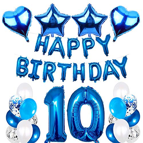 SNOWZAN 10.geburtstags deko junge Geburtstagsdeko Blau Jungen folienballon buchstaben blau geburtstag luftballon Blau Ballon Geburtstag Blau Happy Birthday Girlande Geburtstag Deko für Mädchen Jungen