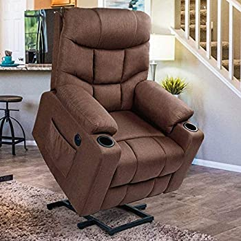 Esright Power Lift Chair Electric Recliner for Elderly Heated Vibration Massage Fabric Sofa Motorized Living Room Chair with Side Pocket and Cup Holders USB Charge Port&Massage Remote Control Brown
