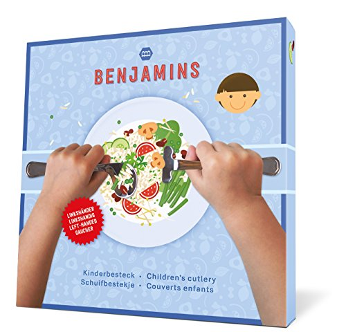 Benjamins Products juego de cubiertos para niños | juego de empujador y cuchara, 12 meses +, ligero y cómodo, perfecto para las manos de los niños Juego para zurdos.