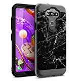 Ohiya Flexible Texture Case Compatible with LG Risio 4 [Cute Shock Absorption Men Women Girly Heavy Duty Slim Black Case Cover] for LG Risio 4 Cricket Wireless Phone (Black Marble Print)
