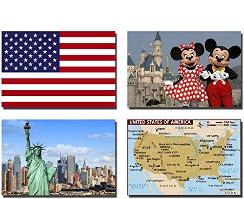 CFL SET OF 4 USA CALAMITA DA FRIGO IMANES PARA NEVERA – USA FLAG, USA MAP, USA ATTRACTIONS FRIDGE MAGNET