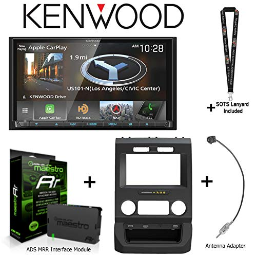 """Kenwood DNX875S 6.95"""" Navigation Receiver Apple CarPlay/Android Auto, iDatalink KIT-FTR1 Factory System Adapter for Select Ford Pickups, ADS-MRR Interface Module, BAA22 Antenna Adapter + SOTS Lanyard"""