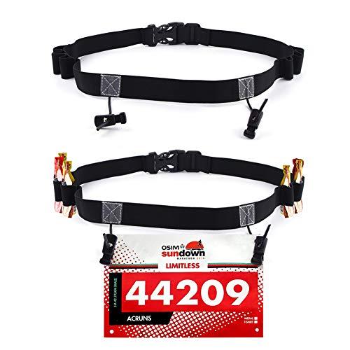 Podinor Race Number Belt, BIB Waist Hip Card Holders Running Number Belt for Triathlon, Marathon, with 6 Gel Loops to Attach Energy Gel (Pack of 2) (Black+Black)