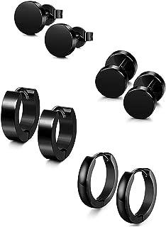 Flybloom Unisex 4 Pairs Stainless Steel Stud Earrings Round Barbell Dumbbell Ear Studs Black Ear Buckles