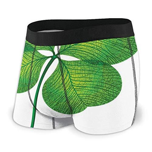 Web--ster Herren Boxershorts, detailliertes vierblättriges Kleeblatt-Design auf einfachem Hintergrund Lucky Icon Size L.