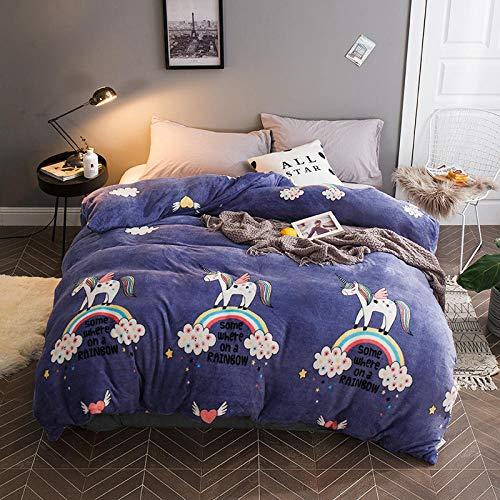 Rvvsovs Bedding set 3D Cartoon animal unicorn rainbow Duvet cover Pillowcase Lightweight Polyester Soft Comfortable Breathable Zipper Child Boy Girl Teens (2Pillowcases 50x75cm) (King 220 x 230 cm )