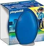PLAYMOBIL- Ostereier Huevo Policia con Perro, Color carbón (70085)