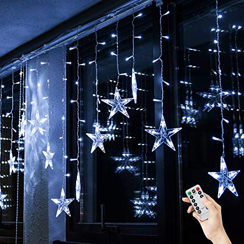 BLOOMWIN Christmas Star String Light Indoor LED Curtain Icicle Light Cold White 3m x 0.65m 8 Twinkle Modes 12Stars Window Decoration Light for Xmas Tree Wedding Party Hotel Festival