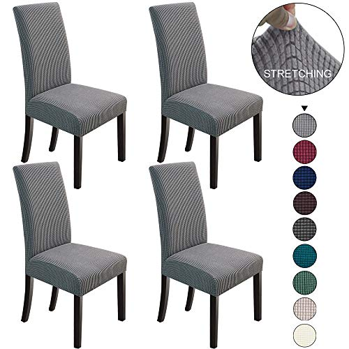 NORTHERN BROTHERS Dining Chair Covers Stretch Chair Covers Parsons Chair Slipcover Chair Covers for Dining Room Set of 4,Light Grey