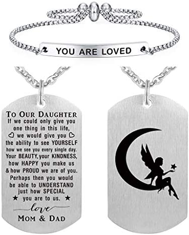 To Our Daughter Gifts from Mom and Dad Daughter Gifts Necklace for Girl Birthday Christmas product image