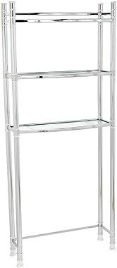 Zenna Home 9035SS, 3-Tier Over-The-Toliet Bathroom Spacesaver Shelf, Chrome/Glass