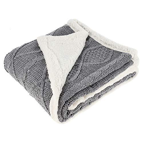 ODOMY Decke hochwertige Wohndecken Kuscheldecken, extra Dicke warm Sofadecke/Couchdecke in zweiseitig, super flausch Fleecedecke als Sofaüberwurf oder Wohnzimmerdecke (Grau, 120 * 180 cm)