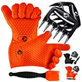 GK's 3 + 3 BBQ Dream Set: Silicone BBQ Grill Gloves Plus Meat Claws Plus Silicone Basting Brush Plus 3 eBooks w/ 344 Recipes for Roasting, Grilling and Baking (Orange)