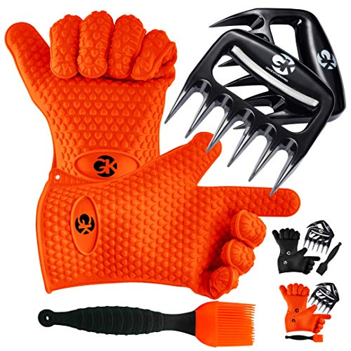 GK's 3 + 3 BBQ Dream Set: Silicone BBQ Smoker Gloves Plus Meat Claws Plus Silicone Basting Brush Plus 3 eBooks w/ 344 Recipes | Barbecue, Grill & Smoker Accessories for Men and Women (Orange)